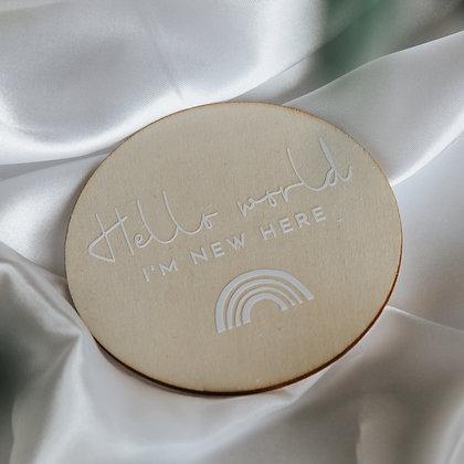 'HELLO WORLD' - Wooden Disk