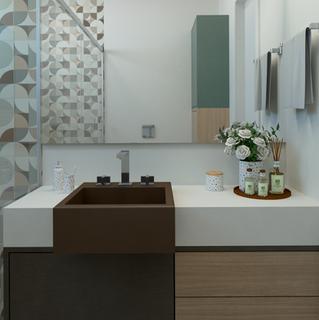 Beleza e praticidade no banheiro de casal