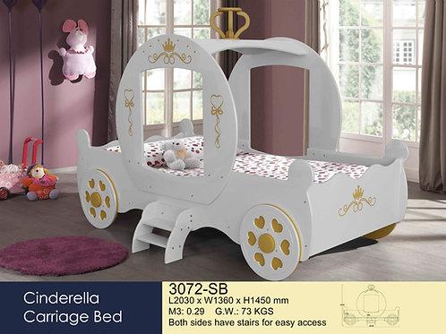 Kids Cindrella White Single Bed Frame