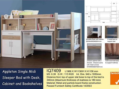 Kids Bunk Single Bed Frame with Study