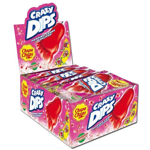 Chupa Chups Crazy Dips Erdbeer Lutscher 24 Stück