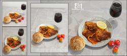 4 תמונות + לוגו דג מושט עם יין ופלח לימו