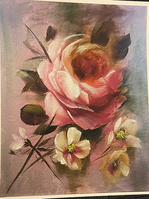 Pink Rose and Yellow Flower Print