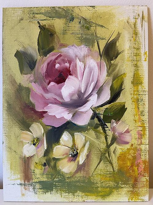 Pink Rose on Yellow