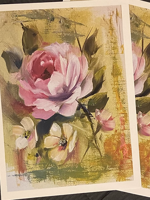 Pink On Yellow Background Print