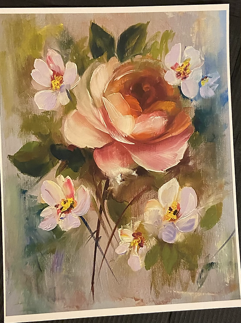 Orange Rose with Purple flowers Print