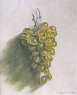 Still Life with Hanging Green Grapes
