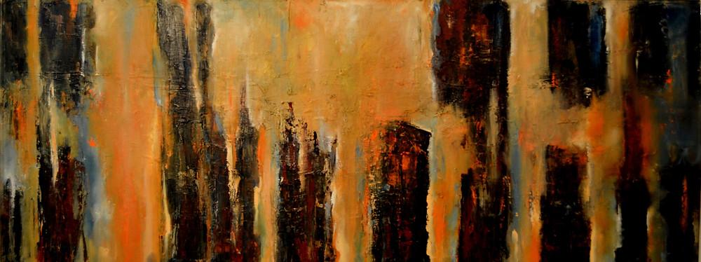 """•Título:  """"Memorias del Devonnier III """"  •Autor: Teresa Cabo •Técnica: Oleo sobre tela  •Dimensiones: 40 x 100 cm •Uruguay,  2016"""