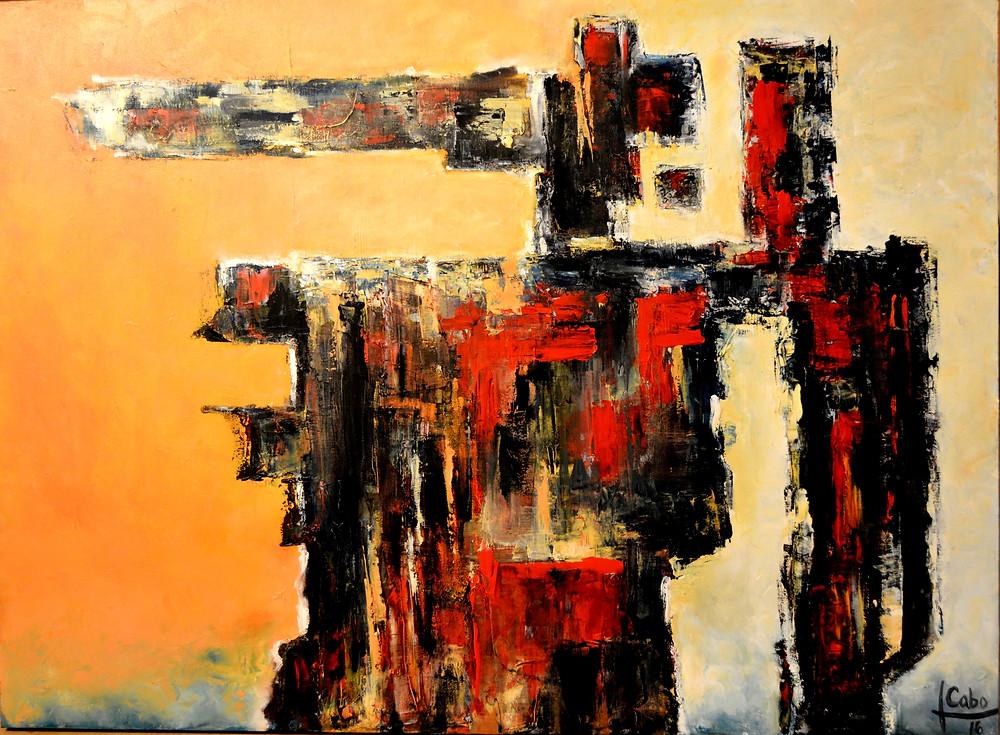 """•Título:  """"Memorias del Devonnier II """"  •Autor: Teresa Cabo •Técnica: Oleo sobre tela  •Dimensiones: 85 x 115 cm •Uruguay,  2016"""