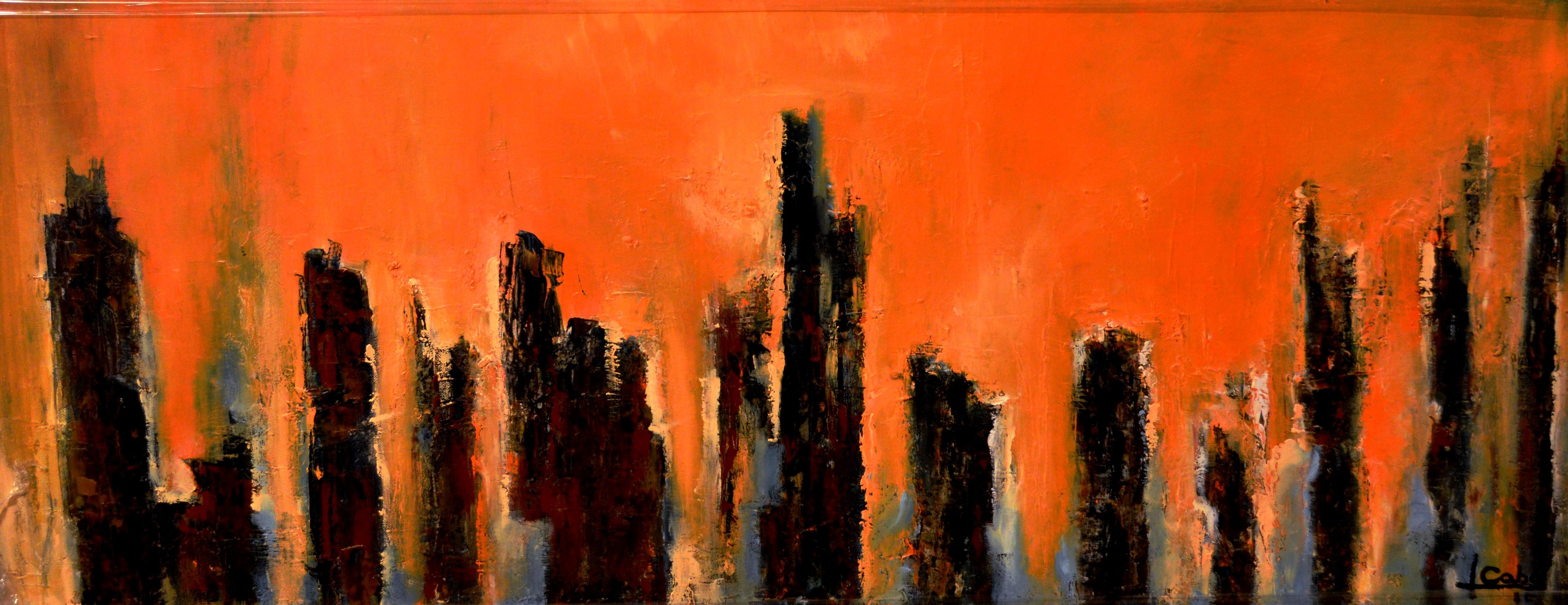 Memorias del Devonnier IV, oleo sobre tela, 40  x 100 cm, Teresa Cabo, 2016