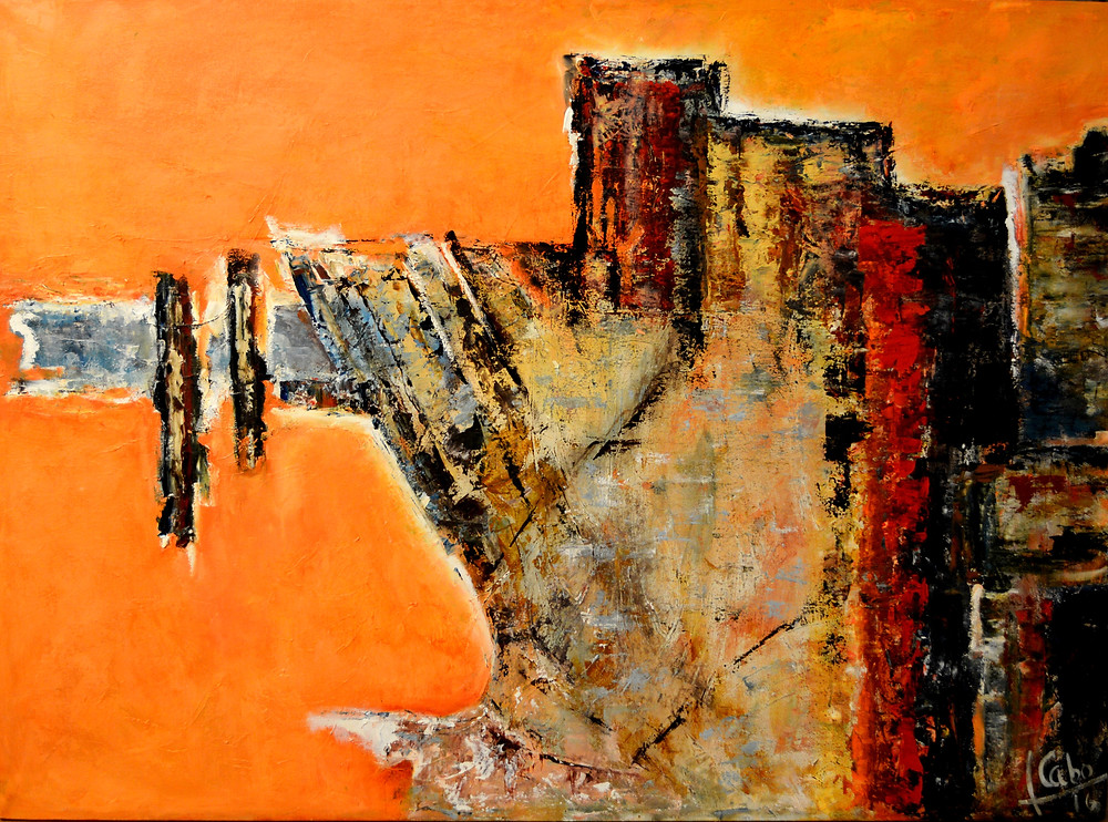 "•Título:  ""Memorias del Devonnier I ""  •Autor: Teresa Cabo •Técnica: Oleo sobre tela  •Dimensiones: 80 x 110 cm •Uruguay,  2016"