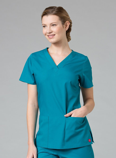 Red Panda - V-Neck Two Pocket Top - Teal