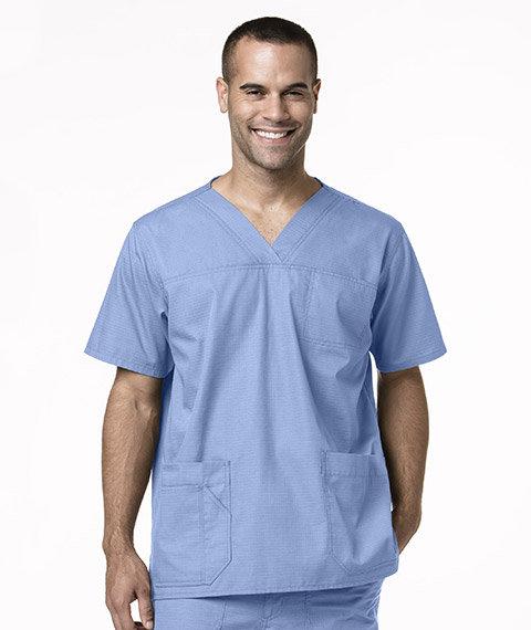 Men's Multi-Pocket Solid Scrub Top- Ceil Blue