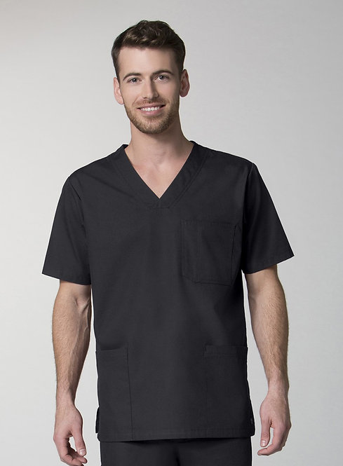 Men's 3-Pocket V-Neck Top - Black