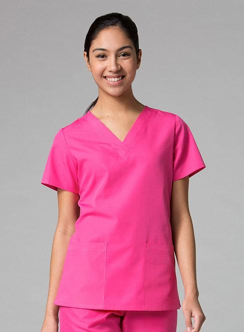 Red Panda - V-Neck Two Pocket Top -Pink