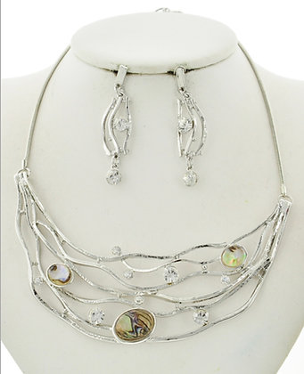 Abalone & Rhinestone Vine Necklace Set