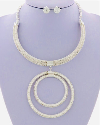 Silver Double Circle Necklace Set