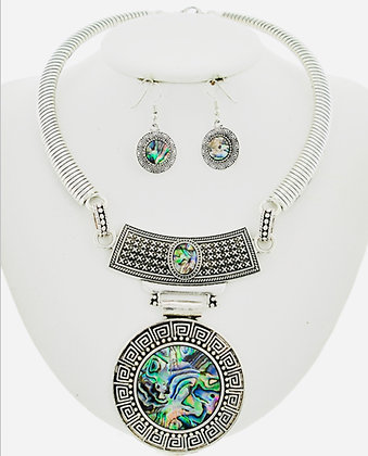 Round Abalone Necklace Set