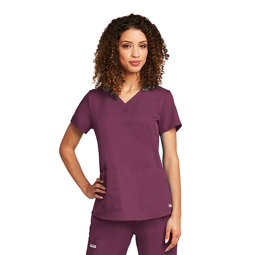 SDW - Grey's Anatomy tm  2 Pocket V-neck Wine