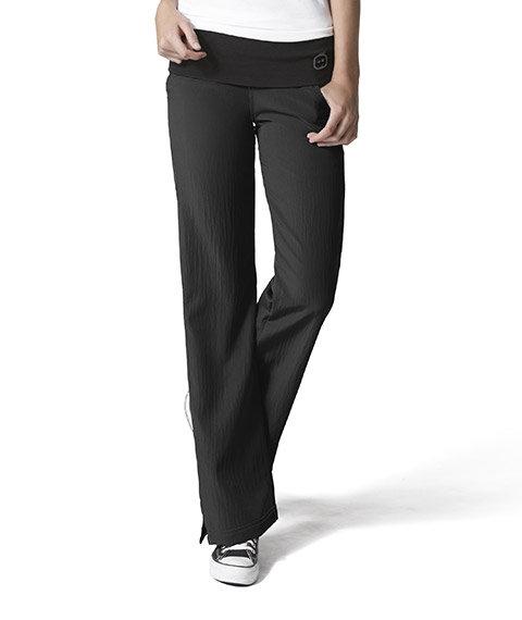 WonderWink- 4 Stretch -Fold Over Knit Waist Pant - Black