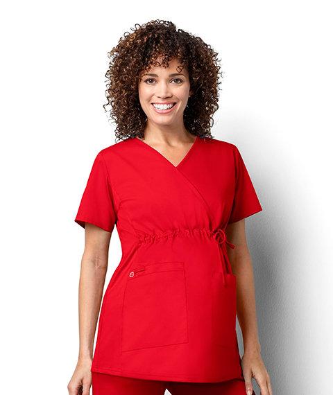 Women's Maternity Mock Wrap - Red