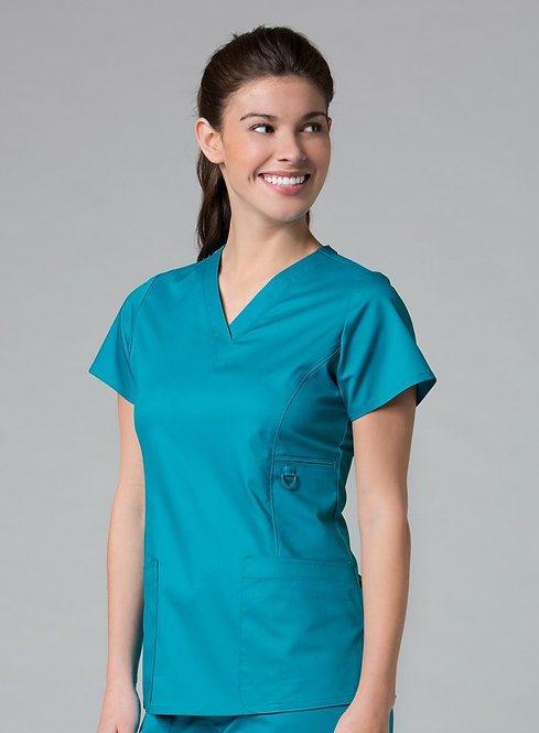 1708 [EON]  V-Neck Pocket Top Teal Blue