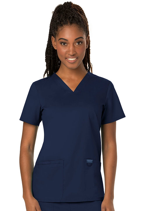 NBR Cherokee - Workwear Revolution - Modern v-neck top - Navy