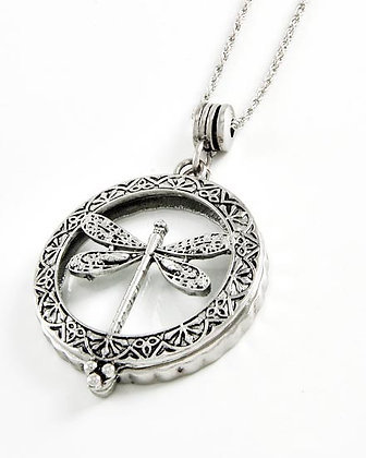 Dragonfly Long Magnifying Glass Necklace