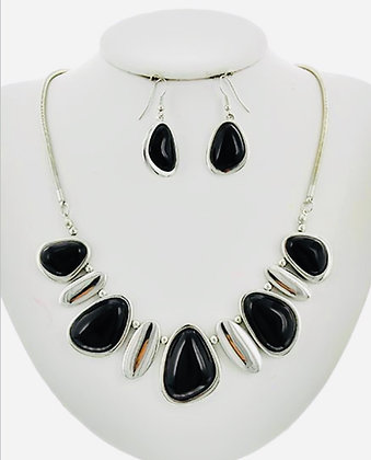 Black & Silver Stone Necklace Set