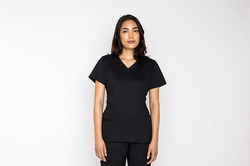Contego Women's Stretch Scrub Top - Style No.1210 Black