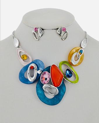 Blue, Orange & Green Necklace Set