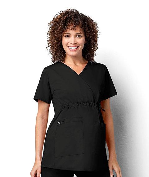 Women's Maternity Mock Wrap - Black