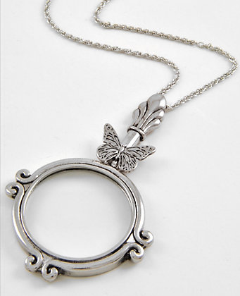 Butterfly Magnifying Glass Long Necklace