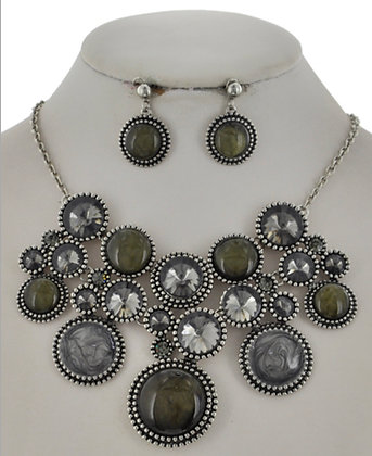 Grey Rhinestone Circle Necklace Set
