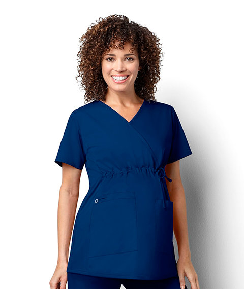 Women's Maternity Mock Wrap - Navy