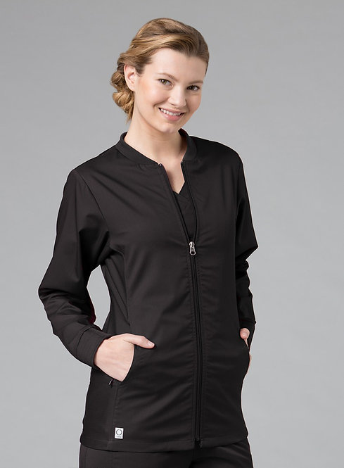 Sporty Mesh Panel Jacket Black
