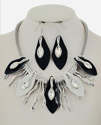 Black, Silver & Rhinestone Necklace Set