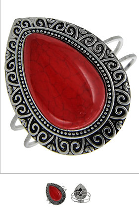 Large Red Cuff Bracelet