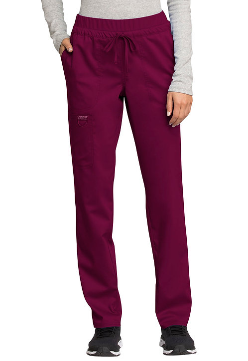 Cherokee - Workwear Revolution - Mid Rise Tapered Leg Drawstring Pant -  Wine