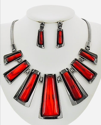 Hematite Tone & Red Necklace Set