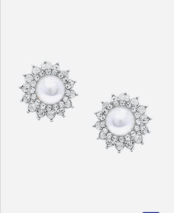 Round Rhinestone & Pearl Earrings