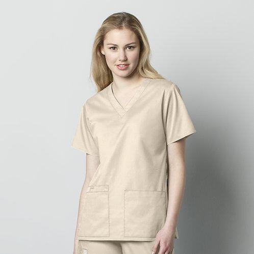 Women's V-Neck Top- Khaki