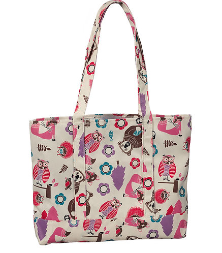 Prestige Fashion Tote Bag -Woodsy Animals Cream