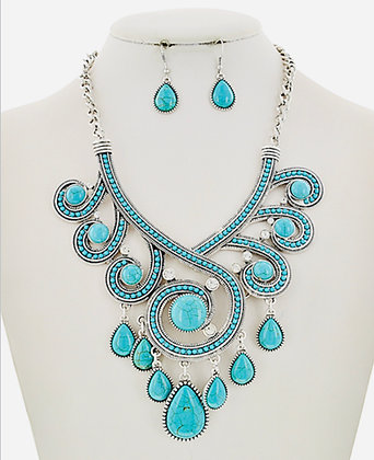 Turquoise Teardrop Necklace Set