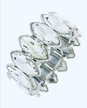 Silver Marquise Cut Rhinestone Stretch Bracelet