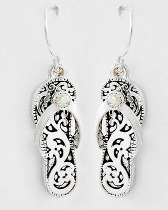 Silver & Rhinestone Flip Flop Earrings