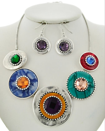 Multi Color Circles Necklace Set