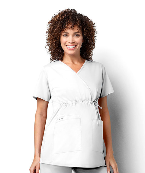 Women's Maternity Mock Wrap - White