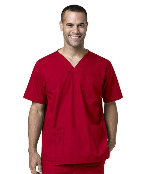 Men's Multi-Pocket Solid Scrub Top- Red