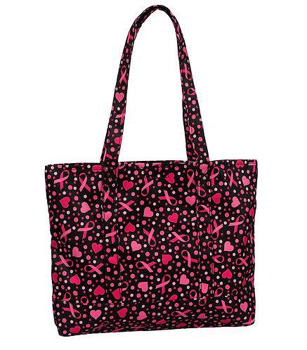 Prestige Fashion Tote Bag - Ribbons and Hearts Black